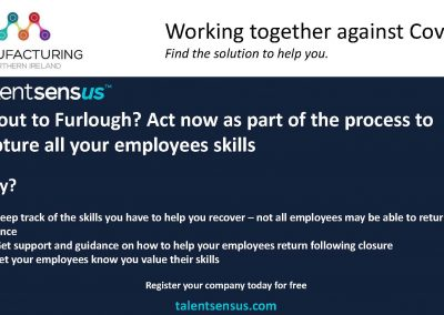 Manufacturing NI - Working together against Covid-19 TalentSensus 2